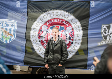 Manchester, UK. 2nd June 2018. A member of The Democratic Football Lads Association seen in Manchester two weeks after the anniversary of the Manchester Bomb. The March was met by a counter demonstration by organised by Stand Up to Racism. Credit: SOPA Images Limited/Alamy Live News - Stock Photo