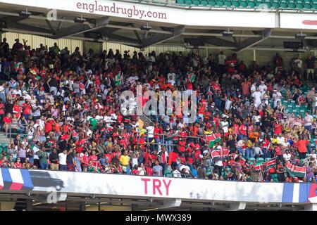 London, UK. 2nd June 2018. The Kenyan fans at the HSBC London Sevens World Series at Twickenham. Credit: Elsie Kibue / Alamy Live News - Stock Photo