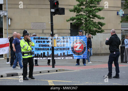 Manchester, UK. 2nd June 2018. Supporters of Tommy Robinson and members of the right wing Democratic Football lads Alliance holding a banner which reads 'Birmingham City Zulu Warriors'. Manchester, 2nd June, 2018 (C)Barbara Cook/Alamy Live News - Stock Photo