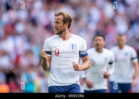 London, UK. 2nd June 2018. Harry Kane of England celebrates scoring his side second goal during the International Friendly match between England and Nigeria at Wembley Stadium, London, England on 2 June 2018. Credit: THX Images/Alamy Live News - Stock Photo
