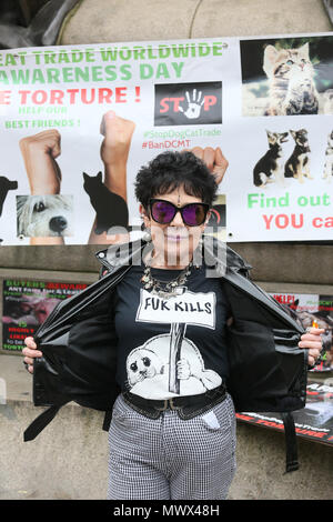 Manchester, UK. 2nd June 2018. An animal rights campaigner displays her shirt which reads 'Fur kills', Piccadilly. Manchester, 2nd June, 2018 (C)Barbara Cook/Alamy Live News - Stock Photo