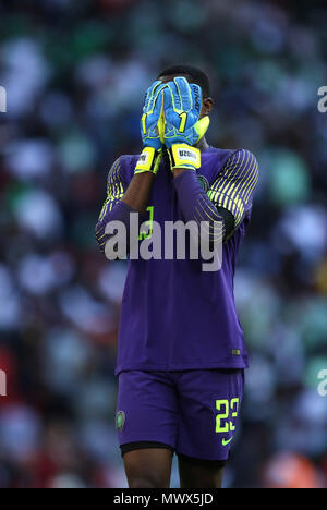 London, UK. 2nd June 2018.Francis Uzoho (N) puts his head in his hands at the England v Nigeria Friendly International match, at Wembley Stadium, on June 2, 2018. **This picture is for editorial use only** Credit: Paul Marriott/Alamy Live News - Stock Photo