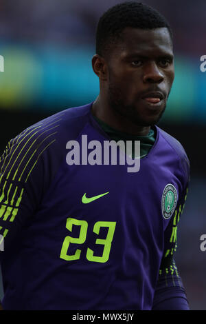 London, UK. 2nd June 2018.Francis Uzoho (N) at the England v Nigeria Friendly International match, at Wembley Stadium, on June 2, 2018. **This picture is for editorial use only** Credit: Paul Marriott/Alamy Live News - Stock Photo