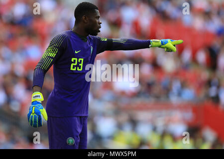 Wembley Stadium, London, UK. 2nd June, 2018. International football friendly, England versus Nigeria; Goalkeeper Francis Uzoho of Nigeria Credit: Action Plus Sports/Alamy Live News - Stock Photo