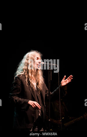 Brighton, East Sussex. 2nd June 2018. Iconic music legend Patti Smith and Her Band perform live at the Brighton Dome. Credit: Francesca Moore/Alamy Live News - Stock Photo