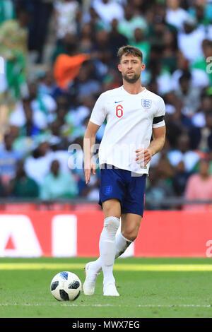 Wembley Stadium, London, UK. 2nd June, 2018. International football friendly, England versus Nigeria; Gary Cahill of England Credit: Action Plus Sports/Alamy Live News - Stock Photo