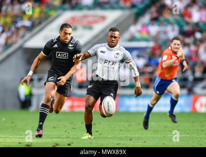 London, UK. 2nd Jun, 2018. Amenoni Nasilasila of Fiji 7s in action during HSBC World Rugby Sevens Series London: Fiji vs New Zealand at Twickenham Stadium on Saturday, 02 June 2018. ENGLAND, LONDON. Credit: Taka G Wu Credit: Taka Wu/Alamy Live News - Stock Photo