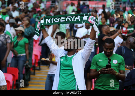 Wembley Stadium, London, UK. 2nd Jun, 2018. Nigeria fans . Football International friendly, England v Nigeria at Wembley Stadium in London on Saturday 2nd June 2018.  this image may only be used for Editorial purposes. Editorial use only, license required for commercial use. No use in betting, games or a single club/league/player publications. pic by Andrew Orchard//Andrew Orchard sports photography/Alamy Live news - Stock Photo