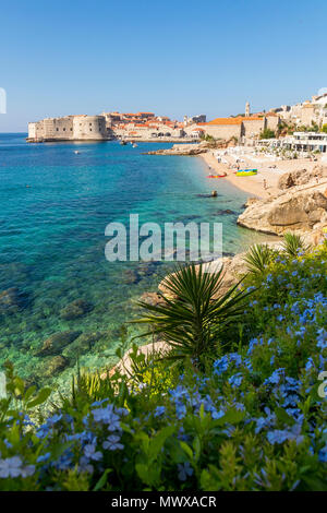 View over Banje Beach and the old town of Dubrovnik in the background, Croatia, Europe - Stock Photo