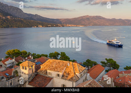 View from the bell tower of the cathedral inside the old town of Korcula over the bay, Korcula, Croatia, Europe - Stock Photo
