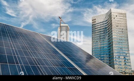 Solar Panels On Top Of A Modern Building - Stock Photo
