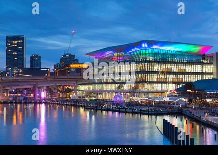 International Convention Centre at dusk, Darling Harbour, Sydney, New South Wales, Australia, Pacific - Stock Photo