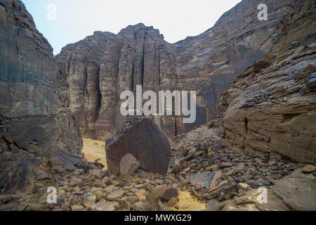 Beautiful rock formations near the Sahary Al-Ula Resort, Al Ula, Saudi Arabia, Middle East - Stock Photo