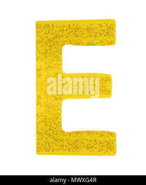 Letter E alphabet symbol, English Letter, English alphabet from yellow (Golden)  on a white background with clipping path.