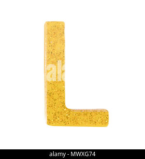 Letter L alphabet symbol, English Letter, English alphabet from yellow (Golden)  on a white background with clipping path.