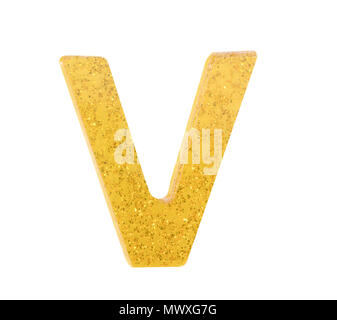 Letter V alphabet symbol, English Letter, English alphabet from yellow (Golden)  on a white background with clipping path.