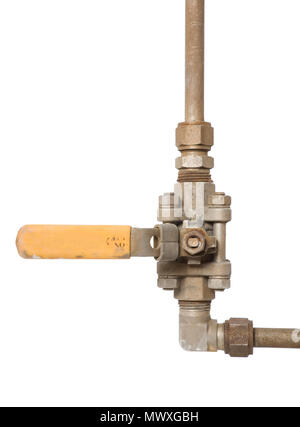 A three piece isolation valve in the off position. - Stock Photo