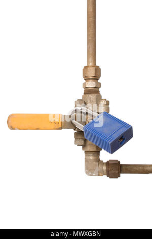 An industrial three piece valve isolated using a safety lock. - Stock Photo