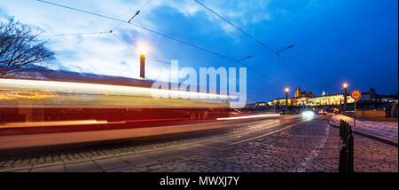 Tram lights, Prague Castle, Prague, Czech Republic, Europe - Stock Photo