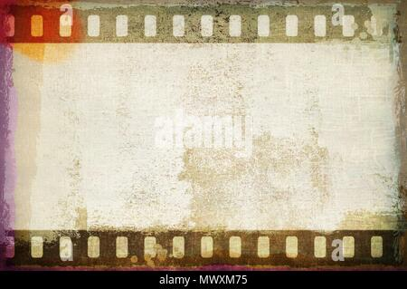 Grunge dripping film strip frame in sepia tones. - Stock Photo