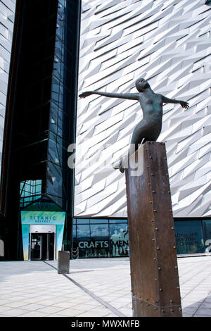 Titanica sculpture in front of Titanic Belfast, a museum in Belfast, Northern Ireland, recently named the World's Leading Tourist Attraction - Stock Photo