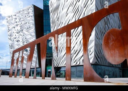 Front view of Titanic Belfast, a museum in Belfast, Northern Ireland, recently named the World's Leading Tourist Attraction - Stock Photo