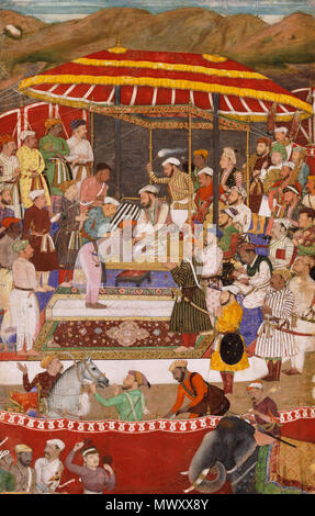 . English: This scene, probably done between about 1615 and 1618, depicts the submission of the ruler of Mewar in Rajasthan to Shah Jahan, the son of the reigning Mughal emperor Jahangir (r. 1605-1627). The ruler, Rana Amar Singh, had long held out against the Mughal forces but after a lengthy campaign directed by Shah Jahan was forced to surrender in 1614. The artist, Nanha, has included himself kneeling at the right of the scene, sketching a portrait of the Rana. The picture was made to illustrate the Jahangirnama ('Book of Jahangir'), the memoirs written in Persian by Jahangir, as indicated - Stock Photo