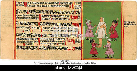 . English: [1] MS in Jain Prakrit and Old Gujaranti on paper, Rupnagar, Rajastan, India, 1666, 76 ff. (-16 ff.), 11x25 cm, single column, (10x22 cm), 4 lines main text, 2-4 lines of interlinear commentary for each text line, in Jain Devanagari book script, filled with red and yellow, 17 paintings in colours mostly of Svetambara monks influenced by the Mughal style. The text is a Prakrit didactic work of how best to live a proper Jain life, aimed probably at the laity. The Svetambara pontiff Sri Dharmadasagaî lived mid 6th c. The Old Gujarati prose commentary was written in 1487. The colophon g - Stock Photo