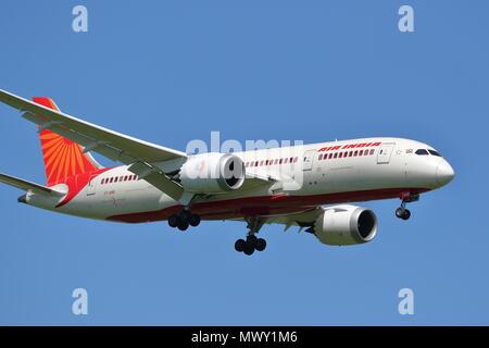 Air India Boeing 787 Dreamliner VT-ANQ landing at London Heathrow Airport, UK - Stock Photo