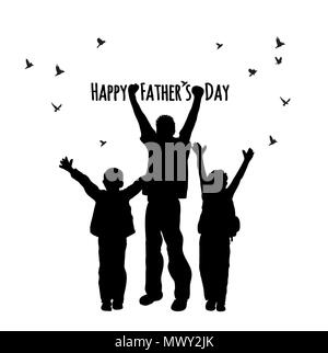 Fathers day children people birds symbol silhouette isolate - Stock Photo