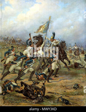 .  English: Fight for the banner (Feat of Cavalry Guard at the battle of Austerlitz). 1910-1912. Русский: Бой за знамя (Подвиг Конной Гвардии при Аустерлице). 1910-1912. .  English: Capture of a French regiment's eagle by the cavalry of the Russian guard at Austerlitz. The French lost only one eagle at the battle of Austerlitz and this happened when the Russian horse Guard caught the 4th Line regiment in the open and charged them. Русский: Захват лейб-гвардии Конным полком знамени 4-го французского линейного полка под Аустерлицем в 1805 году. 1910-12. Холст, масло. . between 1910 and 1912. Cre - Stock Photo