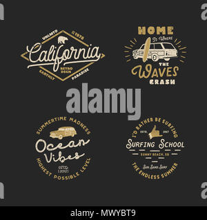 Vntage Hand Drawn Surfing Graphics and Emblems for web design or print. Surfer logotypes. Surf Logo. Summer surf logo typography insignia collection. Stock hipster patches isolated on white - Stock Photo