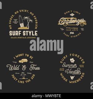 Vntage Hand Drawn Surfing Graphics and Emblems for web design or print. Surfer logotypes. Surf Logo. Summer surf logo typography insignia collection. Stock hipster patches isolated on black - Stock Photo