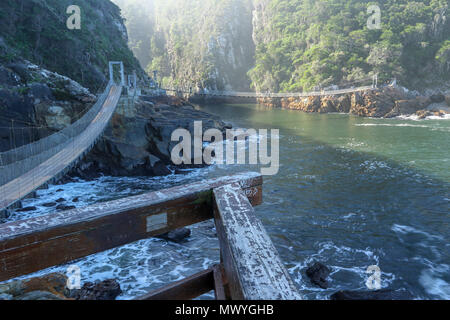 bridge in the storms river area of the Tsitsikamma, protected area, Garden Route, Cape, South Africa, - Stock Photo