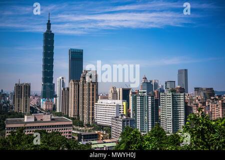 Taipei city skyline with Taipei 101 building viewed from Elephant mountain in Taiwan - Stock Photo