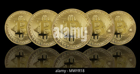 Several symbolic golden coins of bitcoin crypto currency, new digital money in cyber world, on black background, with reflection - Stock Photo