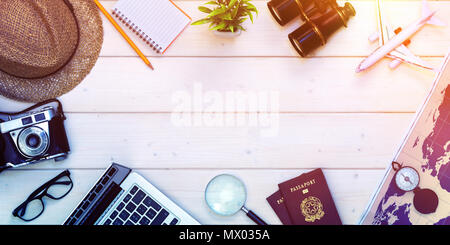 Travel Planning - Preparation For Holidays Trip - Passports And Objects On Desktop - Stock Photo