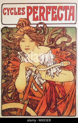 . English: Alphonse Mucha - Cycles Perfecta . 1902.   Alphonse Mucha (1860–1939)   Alternative names Alphonse Maria Mucha  Description Czech-Austro-Hungarian poster artist, lithographer, photographer, graphic designer, painter and postage stamp designer Czechoslovak photographer, painter, illustrator and patriot. Apart from his artistic production he was an advocate for the unification of Czekoslovakia for which he designed the first banknotes in 1918.  Date of birth/death 24 July 1860 14 July 1939  Location of birth/death Ivančice, Austria-Hungary Prague, Czechoslovakia  Work location Vi - Stock Photo