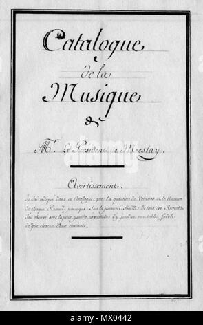 . Français: Page de titre du catalogue de la musique de J. P. Masson de Meslay (c) BM Chartres. 24 August 2015. Manuscrit anonyme. 405 Masson Catalogue - Stock Photo