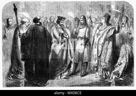 In 1220 the fortunes of King Henry III's government began to improve. Following a second coronation to affirm the authority of the King, Henry promised to restore the powers of the Crown and the barons agreed to give back the royal castles and pay their debts to the Crown. In exchange for agreeing to support Henry, the barons demanded that the King reissue the Magna Carta of his own 'spontaneous and free will' and confirmed them with the royal seal, giving the new Great Charter of 1225  more authority than previous versions.The bishops threatened excommunication against all who opposed the Cha - Stock Photo