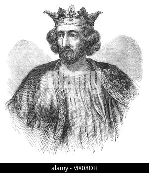 A portrait of King Edward I (1239–1307), aka Edward Longshanks, King of England from 1272 to 1307. He spent much of his reign reforming royal administration and common law. Through an extensive legal inquiry, Edward investigated the tenure of various feudal liberties, while the law was reformed through a series of statutes regulating criminal and property law.  Edward joined the Ninth Crusade to the Holy Land, but returned home in 1272 when he was informed that his father had died. He reached England in 1274 and was crowned at Westminster on 19 August. - Stock Photo