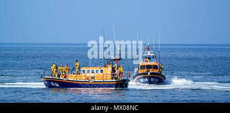 Rhyl,Uk, Lifeboats appear together for practice session, credit Ian Fairbrother - Stock Photo