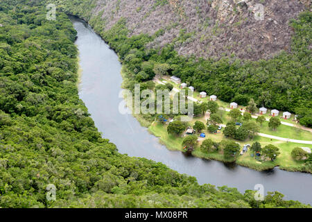 Aerial view of the Ebb & Flow camp in the Wilderness area of the Garden Route in South Africa - Stock Photo