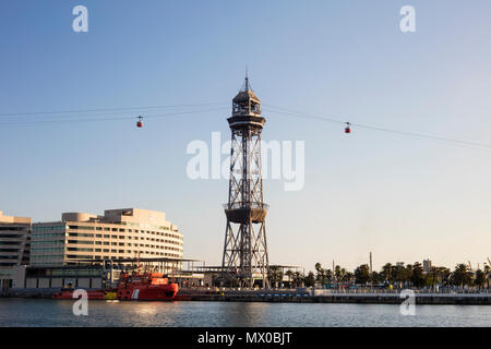 Cable car tower in Barcelona, Spain. - Stock Photo