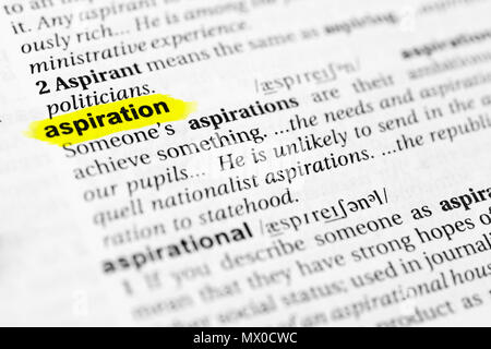 Highlighted English word 'aspiration' and its definition in the dictionary. - Stock Photo