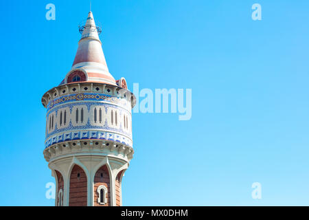 Torre de las Aguas de Fenosa (Water Tower) closed to Hospital del Mar in Barceloneta, Barcelona, Spain. This old building was designed by the catalan  - Stock Photo