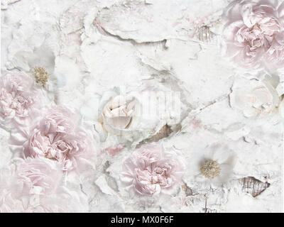 Peonies and roses on cracked wall. Vintage floral pattern - rough background. Grunge design. Flowers decorative framing with space for text. - Stock Photo