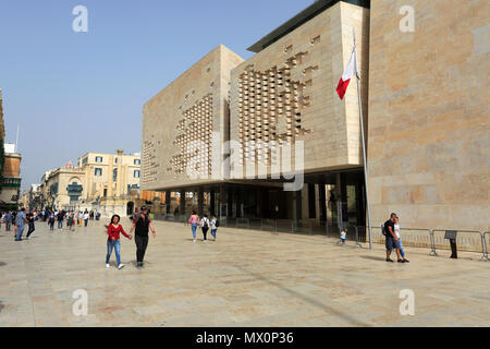 The new Parliament building, Republic Street, Valletta, Malta - Stock Photo