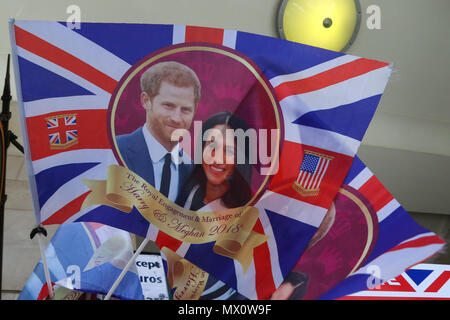 A large selection of memorabilia available in a souvenir shop in Piccadilly Circus to commemorate the wedding of Prince Harry and Meghan Markle on 19 May 2018.  Featuring: Atmosphere, View Where: London, United Kingdom When: 02 May 2018 Credit: Dinendra Haria/WENN - Stock Photo