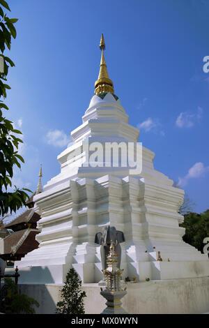 Stupa Wat Duang Dee Chiang Mai Northern Thailand - Stock Photo
